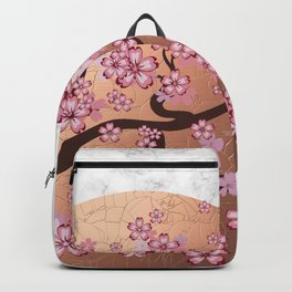 Blooming Sakura Branch on marble Backpack