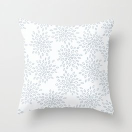 Vintage hand painted gray spindle blue abstract floral Throw Pillow