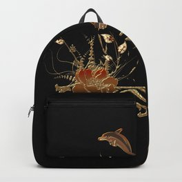 Funny dolphins with flowers Backpack