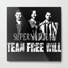 Supernatural Team Free Will White silhouette Metal Print