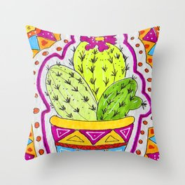 Aztec Cactus in pot Throw Pillow