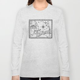 Vintage Map of Cape Cod BW Long Sleeve T-shirt