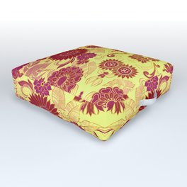 Red Retro Floral Outdoor Floor Cushion
