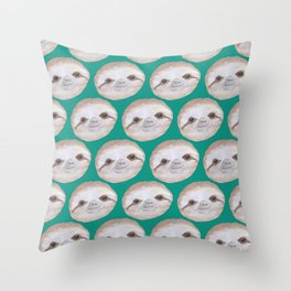 Sloth Neck Gator Cute Sloth Faces Teal Sloth Throw Pillow