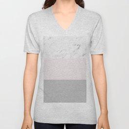 Pastel striping - soft grey marble Unisex V-Neck