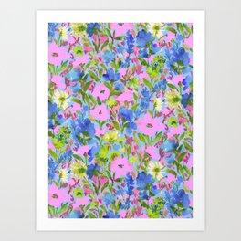 Wild Garden Pink on Blue Art Print