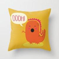 dino Throw Pillows featuring Dino by Proyecto Melón