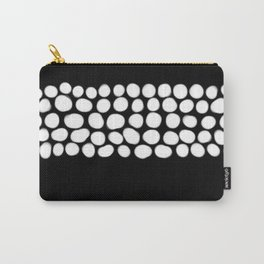 Soft White Pearls on Black Carry-All Pouch