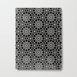 Persian Mosaic – White on Black Metal Print