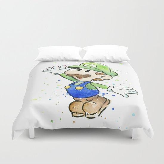 Luigi Watercolor Mario Nintendo Art Duvet Cover