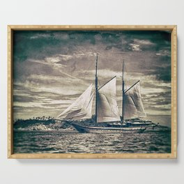 Sailing Yacht Wooden Schooner Serving Tray