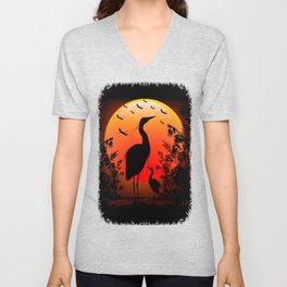 Heron Shape on Sunset Unisex V-Neck