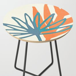 Mid Century Nature Print / Teal and Orange Side Table