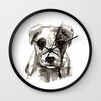 puppy Wall Clocks featuring Puppy  by Cedric S Touati