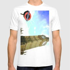 Above and Beyond Ground. MEDIUM White Mens Fitted Tee