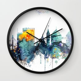 Watercolor Oakland skyline cityscape Wall Clock