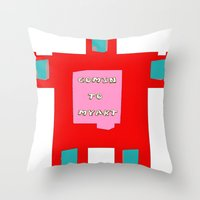 om Throw Pillows featuring OM by lucborell