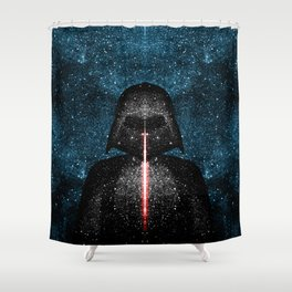 Darth Vader with Lightsaber in Galaxy Shower Curtain