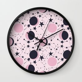 Moon and Stars in pink and blue Wall Clock