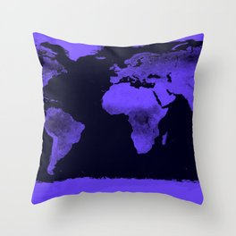 Periwinkle World Map Throw Pillow