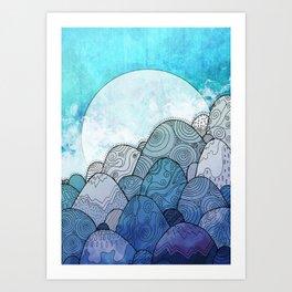 The Blue Sky Rocks Art Print