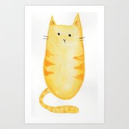 Orange Cat Watercolor Art Print