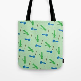 Bongs, Blunts, Joints Pattern Green Tote Bag