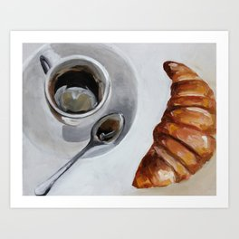 French breakfast, coffee and croissant, original oil painting, daily art Art Print