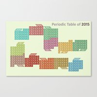 periodic table Canvas Prints featuring Periodic table of 2015 by Rhodium Clothing