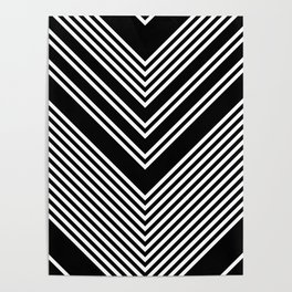 Back and White Lines Minimal Pattern no.2 Poster