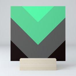 Mint Green Gray Chevron Stripes Mini Art Print