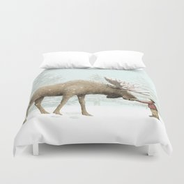 Winter Moose Duvet Cover