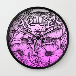 Charmed Life - Deer Girl Poppies - Purple Ombre Wall Clock