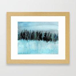 Dark Forest Across the Icy Lake Framed Art Print