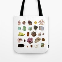 minerals Tote Bags featuring Experiment 07: Rocks, minerals, gems by hollowwalls
