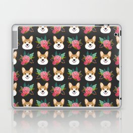Corgi face floral bouquet cute dog breed gifts for welsh corgi lovers must haves Laptop & iPad Skin