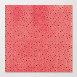 Modern black pink yellow watercolor chevron polka dots pattern Canvas Print
