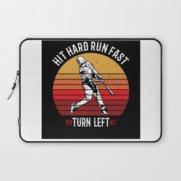 Hit Hard Run Fast Turn Left Baseball Design Motif Laptop Sleeve