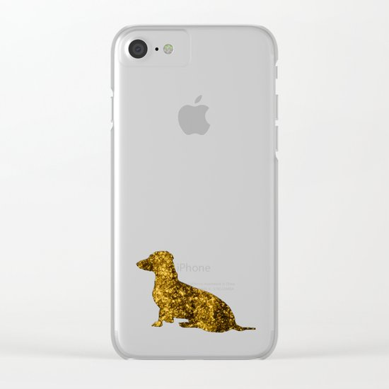 I LOVE my Dachshund - Luxury glitter dog Clear iPhone Case