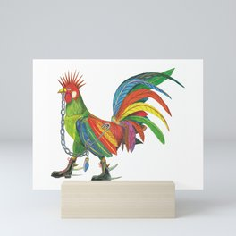 Punky Rooster on White background Mini Art Print