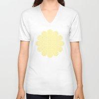 yellow pattern V-neck T-shirts featuring yellow pattern by Artemio Studio