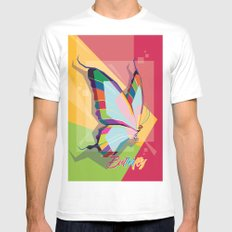 Butterfly White Mens Fitted Tee MEDIUM