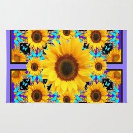 Lilac Purple Yellow Sunflowers &  Aqua Butterflies Quatre  Patterns Rug
