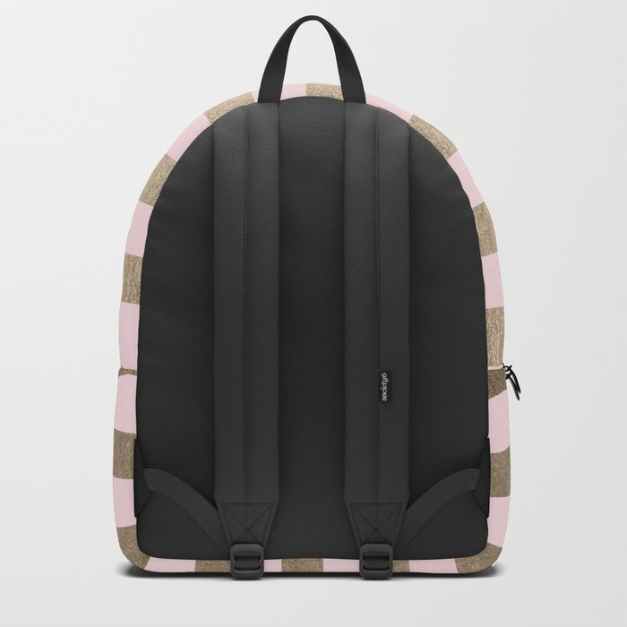 Stripes White Gold Sands on Pink Flamingo Backpack