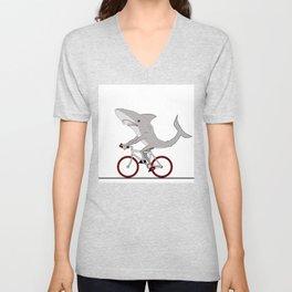 Sharky the Cyclist Unisex V-Neck