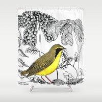 kentucky Shower Curtains featuring Kentucky Warbler by Art by Peleegirl
