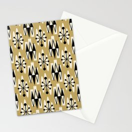Retro Mid Century Modern Atomic Triangles 737 Gold and Black Stationery Cards