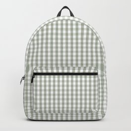 Desert Sage Grey Green and White Min Gingham Check Plaid Backpack