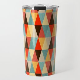 Red & Brown Geometric Triangle Pattern Travel Mug