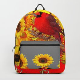MODERN ABSTRACT RED CARDINAL YELLOW SUNFLOWERS GREY ART Backpack